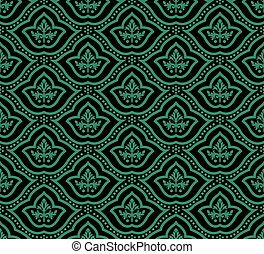 Antique seamless green background dot curve line round flower