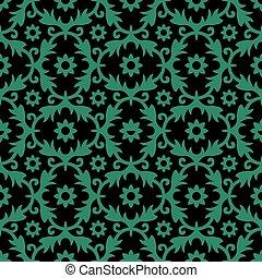 Antique seamless green background flower leaf spiral