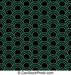 Antique seamless green background oriental fish scale round curve line
