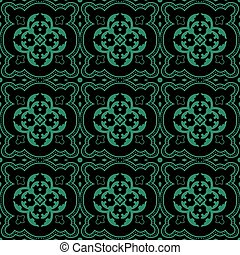 Antique seamless green background round curve dot line flower