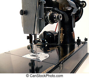 Sewing Machine - Antique Sewing Machine on White Background