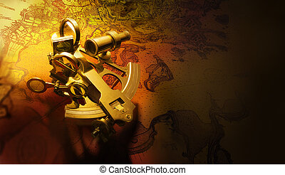Antique sextant - beautiful antique brass sextant shot on...