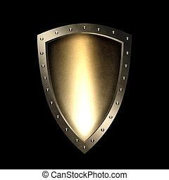 Antique shield on black background.