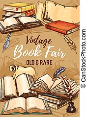 Antique shop, vintage books fair sketch poster