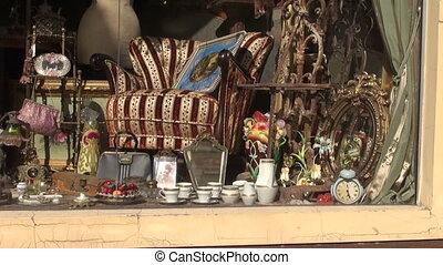antique shop window in street - antique shop window in old...