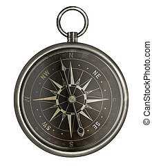 antique silver compass with dark face isolated on white