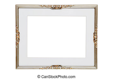 antique silver frame - isolated antique silver frame