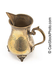 Antique silver jug for milk isolated on white