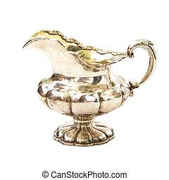 Antique silver jug isolated on white backrgound