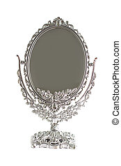 Antique silver mirror isolated