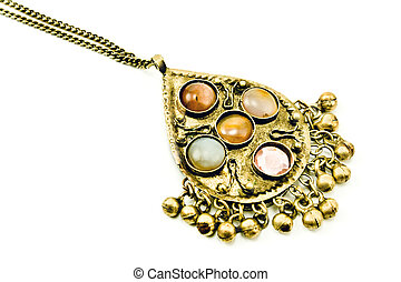 Antique silver necklace with gems