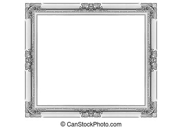 antique silver picture frame isolated on white background