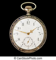 Antique silver pocket watch isolated over black
