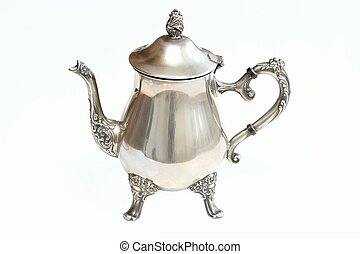 Antique silver teapot on white background