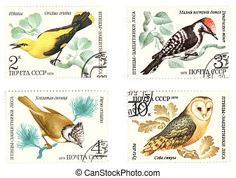 Antique Soviet post stamps with birds