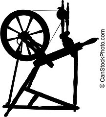 Antique Spinning Wheel - Vector silhouette of Antique...