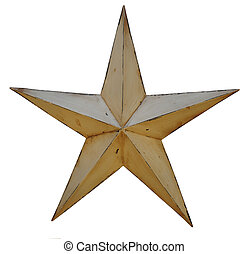 Antique Star - An antique, rustic, metal, star isolated on a...