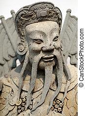 antique statue of a Thai soldier close up