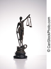 Antique Statue of justice on white background