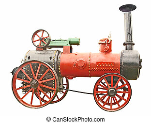 Antique steam tractor isolated on white background