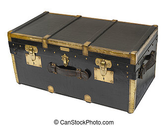 Antique steamer trunk, isolated - Antique steamer trunk in...