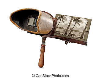 Antique Stereograph isolated with a clipping path