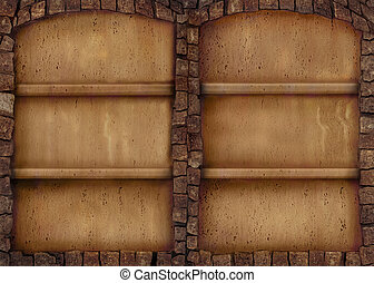 Antique stone shelf background