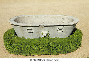 antique stone tub with lion in historic Gardens of Boboli, Florence,Tuscany,  Italy