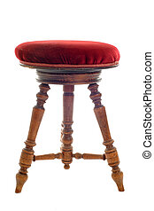antique stool in front of white background