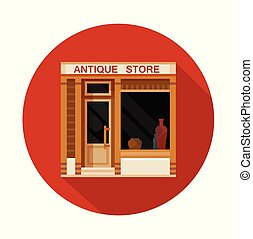 Antique store front view flat icon, vector illustration