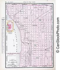 Antique Street City Map St. Joseph, Missouri, USA