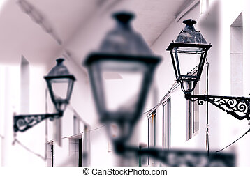 Antique street lamp abstract background