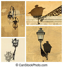 antique street lamps collage, images from Tuscany, Italy