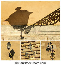 antique street lamps collage