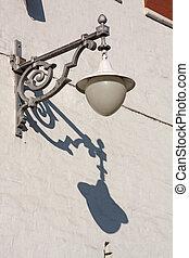 Antique Street Light on a wall