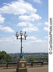 antique street light with london city - antique street light...