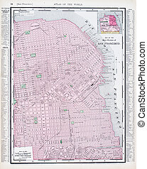 Antique Street Map San Francisco California USA - Vintage...