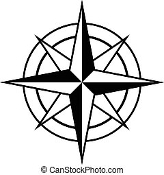 Antique style compass rose icon in black and white for...