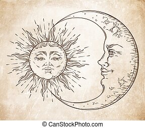 Antique style hand drawn art sun and crescent moon. Boho...