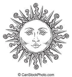 Antique style hand drawn art sun. Boho chic tattoo design...