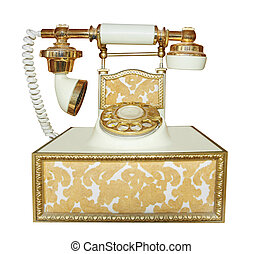 Antique Style Phone isolated with clipping path