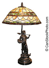 Antique Table Lamp - An antique table lamp with a boy with...
