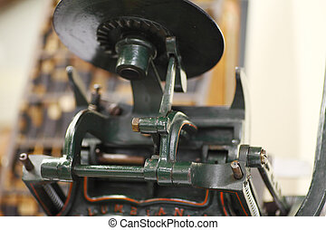 Antique tabletop printing press