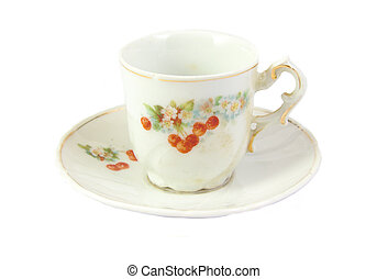 Antique tea cup isolated on a white background