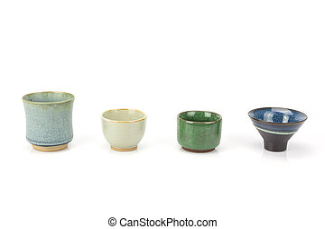 Antique tea cup set isolated on white background