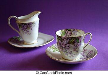 Antique wisteria pattern tea-set