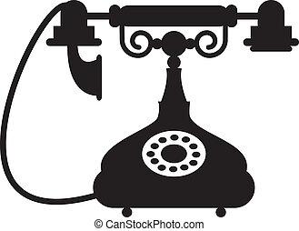 antique telephone - Silhouette of antique telephone