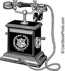 Antique telephone - Vector illustration of an antique ...