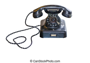 Antique Telephone with dial on white background