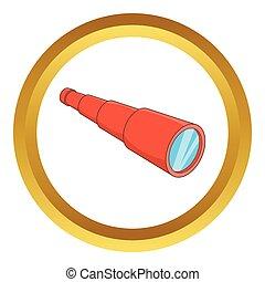 Antique telescope vector icon in golden circle, cartoon...